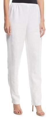 Caroline Rose Slim-Leg Linen Pants, Plus Size