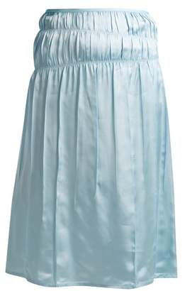 Helmut Lang - Mid Rise Satin Slip Skirt - Womens - Light Blue