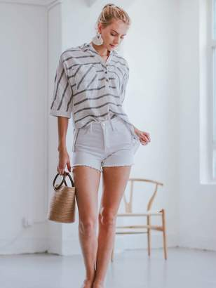 Goodnight Macaroon 'Maeve' Striped Quarter Sleeve Shirt