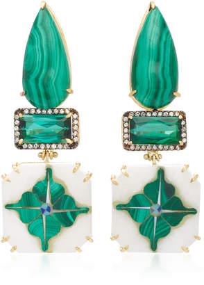 Silvia Furmanovich India Marble Mosaic Malachite Earrings