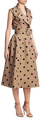 Oscar de la Renta Women's Polka Dot Sleeveless Wrap Belted A-line Dress