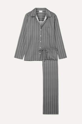 Pour Les Femmes - Striped Cotton-sateen Pajama Set - Gray