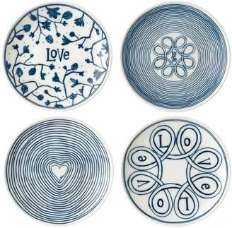 ED Ellen Degeneres by Royal Doulton ED Love Small Porcelain Dinner Plates (Set of 4)