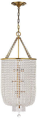 AERIN Jacqueline Long Chandelier - Antiqued Brass/Clear