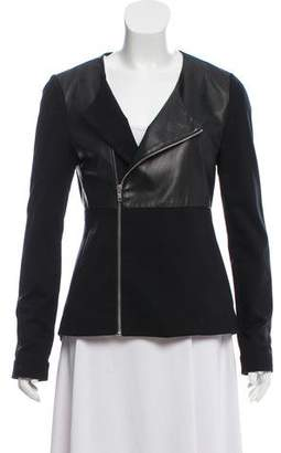 Elizabeth and James Collarless Leather-Accented Jacket