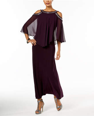 R & M Richards Embellished Cold-Shoulder Popover Gown