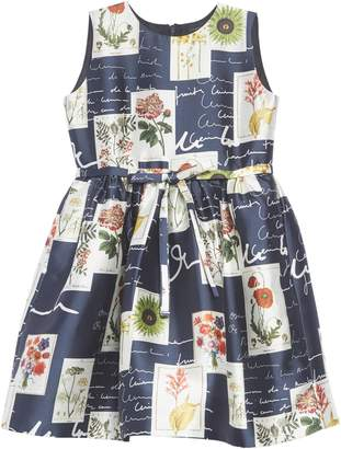 Oscar de la Renta Botanical Flowers & Scribble Sleeveless Dress