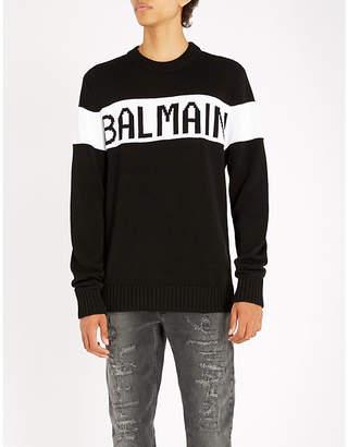 Balmain Logo-intarsia cotton-knitted jumper