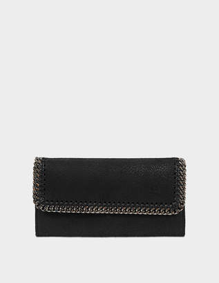 Stella McCartney Continental Falabella Flap Wallet in Black Eco Leather