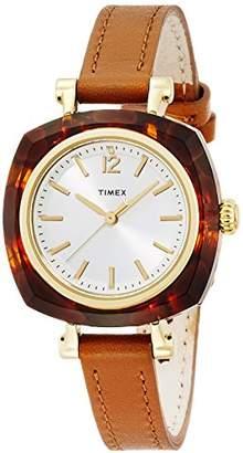Timex (タイメックス) - [タイメックス]TIMEX NEW ヘレナ 30mm シルバーホワイトダイアル 樹脂製べっ甲柄ブラウンレザーストラップ TW2P70000 レディース 【正規輸入品】