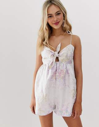 a5097f12cad Asos Design DESIGN cami romper in jacquard with tie front