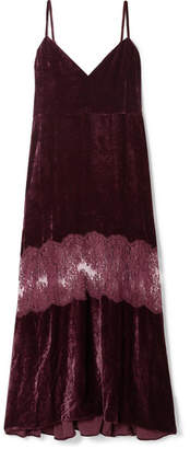 Stella McCartney Kelsey Lace-paneled Velvet Dress - Merlot