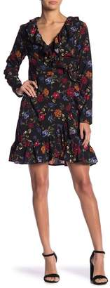 Kensie Floral Surplice Wrap Ruffle Dress