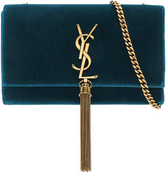 Saint Laurent Small Velvet Monogramme Kate Tassel Chain Bag