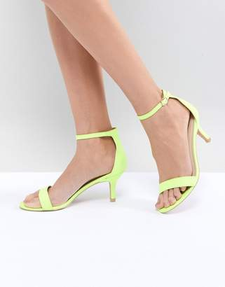 Glamorous Neon Yellow Barely There Kitten Heeled Sandals