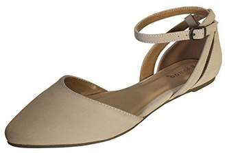 5ef3b082171 Bamboo Women s Almond Toe Double Open Shank Skimmer with Ankle Strap