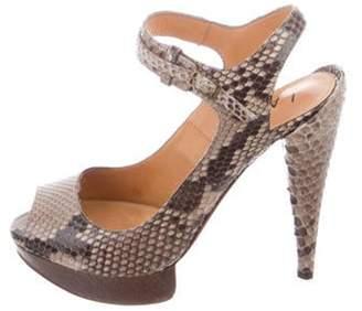 Lanvin Snakeskin Platform Sandals Tan Snakeskin Platform Sandals