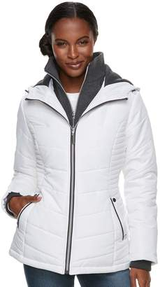 Details Women's Hooded Bib Inset Quilted Jacket
