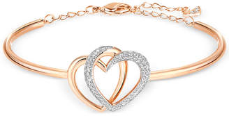 Swarovski Rose Gold-Tone Crystal Pave Interlocking Double Heart Bangle Bracelet