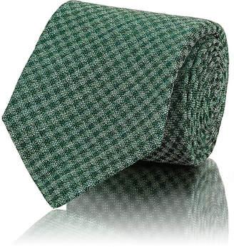 Kiton Men's Checked Basket-Weave Silk-Linen Necktie