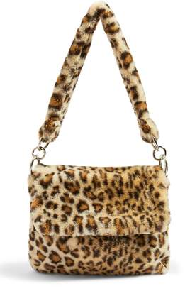 Topshop Teddy Leopard Print Faux Fur Shoulder Bag