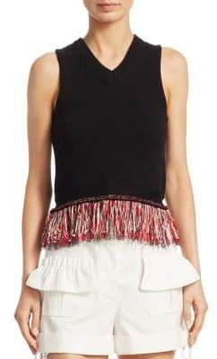 Carven Fringed Knit Tank