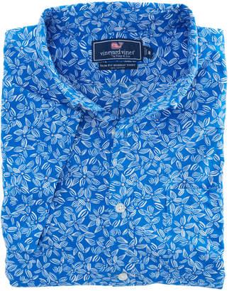 Vineyard Vines Short-Sleeve Linear Floral Slim Murray Shirt