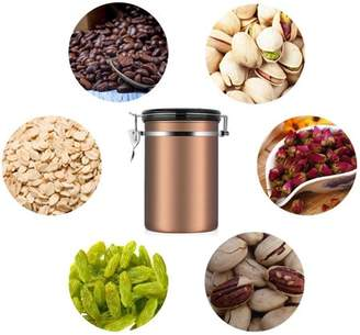 Qiilu 1.8L Coffee and Food Container Large Capacity Airtight Coffee Jar Stainless Steel Kitchen Storage Canister for Coffee Beans, Tea and Dry Goods, Gift for Friends and Families