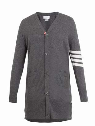 Thom Browne Long V-neck striped-sleeve cashmere cardigan