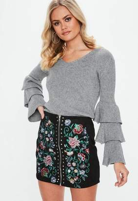 Missguided Gray Tiered Sleeve Sweater
