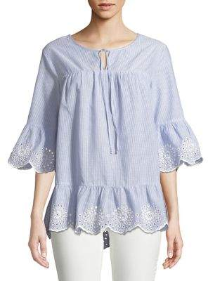 Lord & Taylor Striped Eyelet Stripe Blouse
