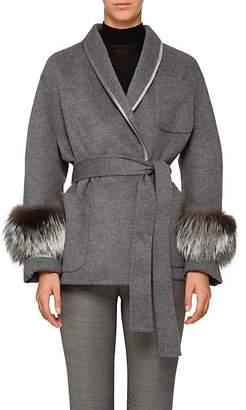 Prada Women's Fox Fur-Trimmed Wool-Blend Robe Coat - Gray
