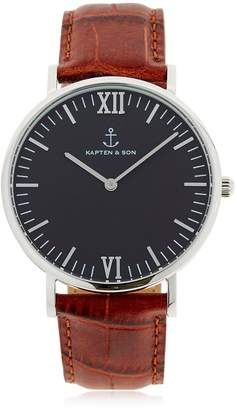 KAPTEN & SON 40mm Embossed Leather Watch