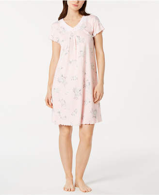 Miss Elaine Floral-Print Lace-Trim Short Nightgown