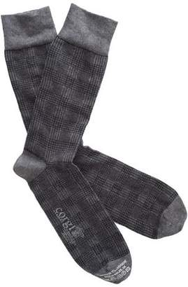 Corgi Cotton Cashmere Plaid Socks in Grey