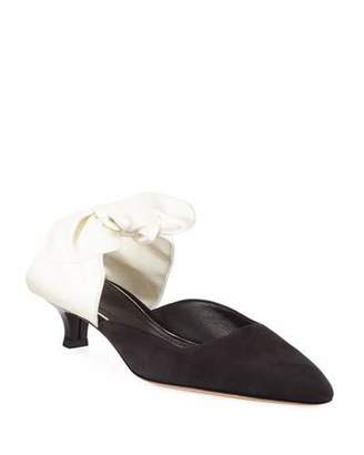 The Row Coco Suede and Satin Mule