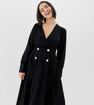 Monki v-neck midi dress with button details in black