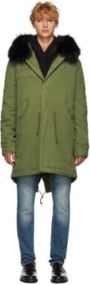 Mr & Mrs Italy Green and Black Long Fur Parka