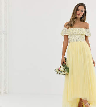 Maya Bridesmaid delicate sequin bardot high low maxi dress in lemon