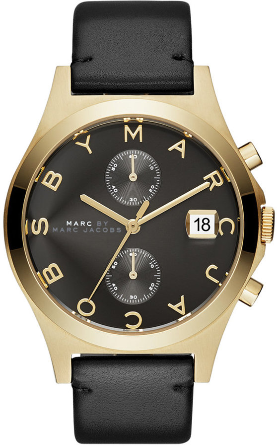 Marc By Marc JacobsMarc by Marc Jacobs Women's Chronograph Slim Black Leather Strap Watch 38mm MBM1398