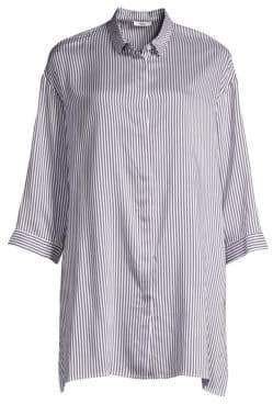 Peserico Striped Button-Down Blouse