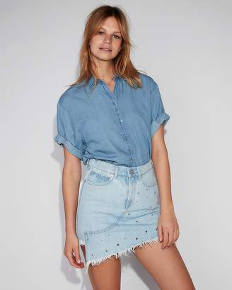 Express Star Studded Asymmetrical Original Denim Mini Skirt