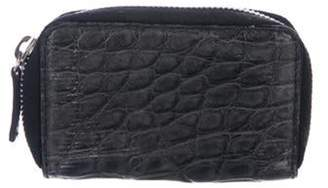 Gucci Crocodile Card Case silver Crocodile Card Case