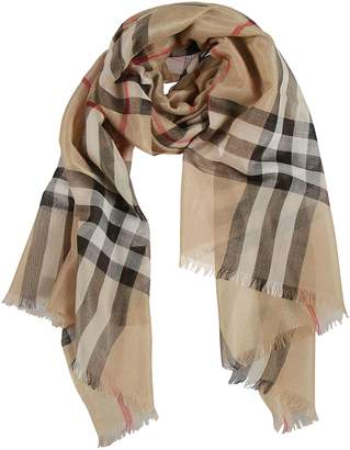 Burberry Checked Frayed Scarf