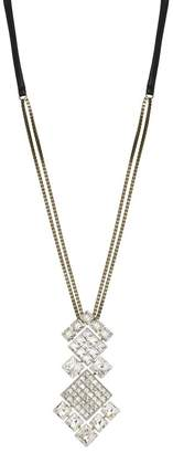 Lanvin Crystal Diamond Square Necklace