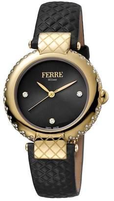 Ferré Milano Women's Leather & Stainless Steel Watch, 34mm