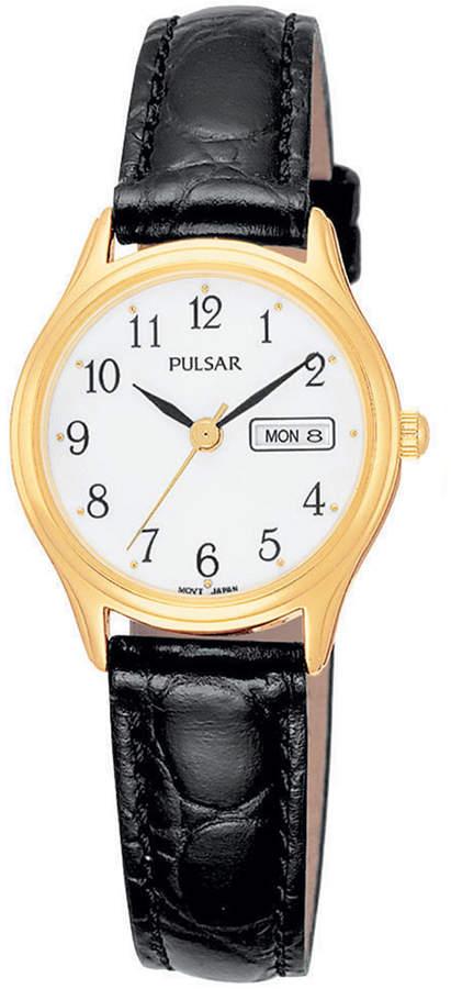 Pulsar Women's Black Leather Strap Watch 30mm PXU012