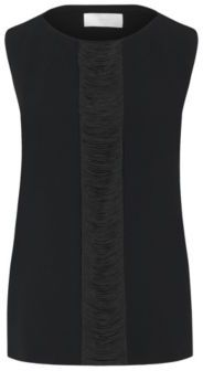 Hugo Boss Ifryna Crepe Fringe Shell Blouse 8 Black $285 thestylecure.com