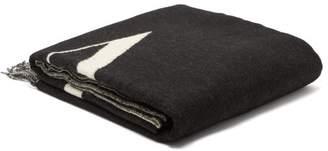 Valentino Logo Intarsia Wool Scarf - Mens - Black