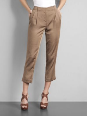 City Style Silky Pleated Ankle Pants